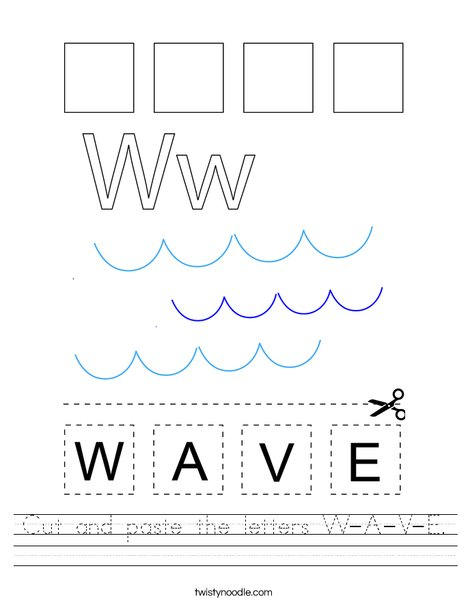 Cut and paste the letters W-A-V-E. Worksheet