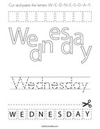 Cut and paste the letters W-E-D-N-E-S-D-A-Y Coloring Page