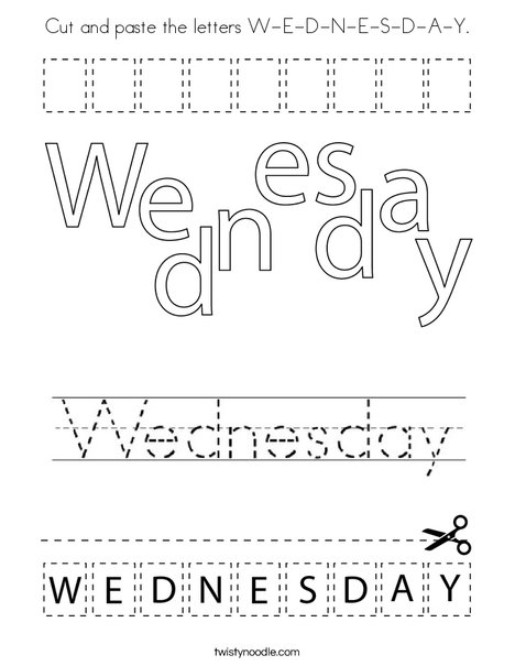 Cut and paste the letters W-E-D-N-E-S-D-A-Y. Coloring Page