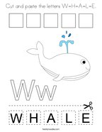 Cut and paste the letters W-H-A-L-E Coloring Page