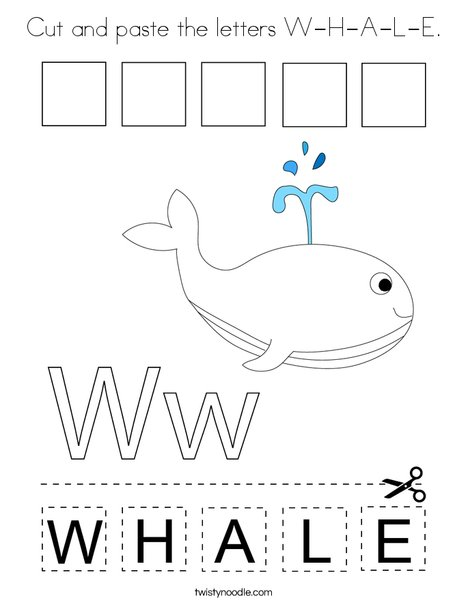 Cut and paste the letters W-H-A-L-E. Coloring Page
