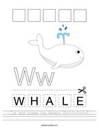 Cut and paste the letters W-H-A-L-E Handwriting Sheet