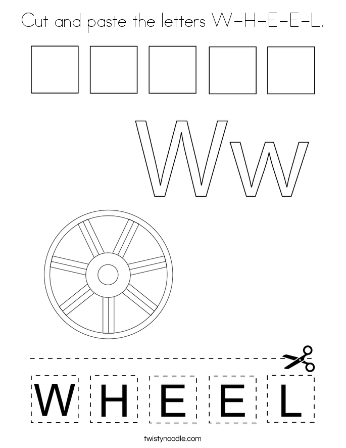 Cut and paste the letters W-H-E-E-L. Coloring Page
