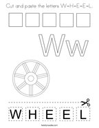 Cut and paste the letters W-H-E-E-L Coloring Page