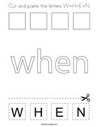 Cut and paste the letters W-H-E-N Coloring Page