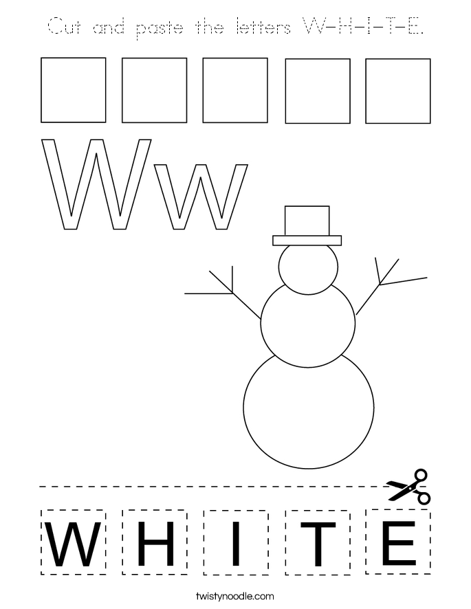 Cut and paste the letters W-H-I-T-E. Coloring Page