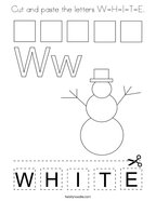 Cut and paste the letters W-H-I-T-E Coloring Page