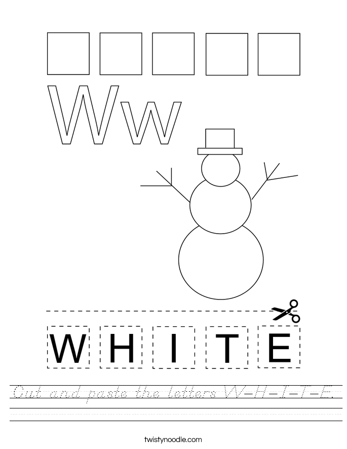 Cut and paste the letters W-H-I-T-E. Worksheet