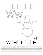 Cut and paste the letters W-H-I-T-E Handwriting Sheet