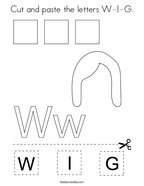 Cut and paste the letters W-I-G Coloring Page