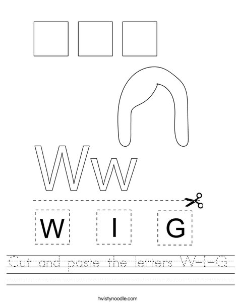 Cut and paste the letters W-I-G. Worksheet