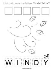 Cut and paste the letters W-I-N-D-Y Coloring Page