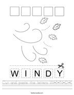 Cut and paste the letters W-I-N-D-Y Handwriting Sheet