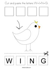 Cut and paste the letters W-I-N-G Coloring Page