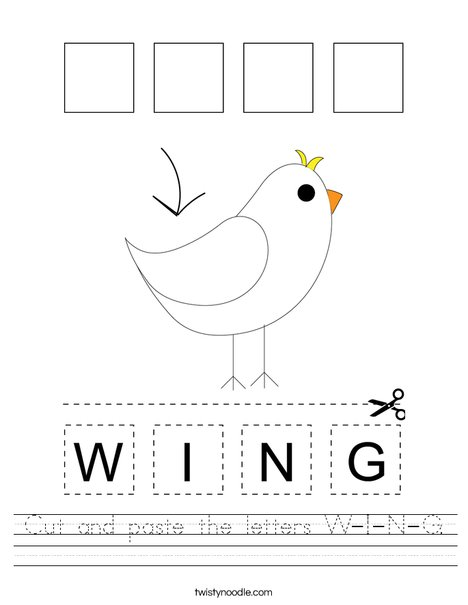 Cut and paste the letters W-I-N-G. Worksheet