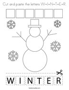 Cut and paste the letters W-I-N-T-E-R Coloring Page