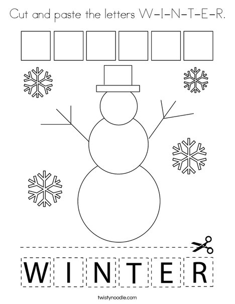 Cut and paste the letters W-I-N-T-E-R. Coloring Page