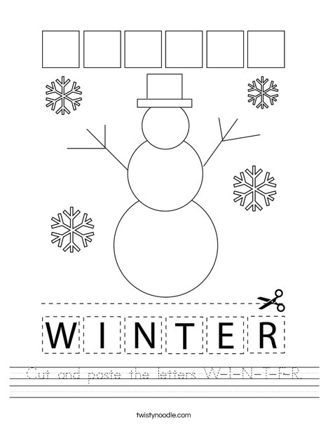 Cut and paste the letters W-I-N-T-E-R. Worksheet
