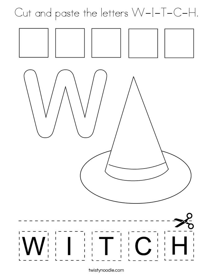 Cut and paste the letters W-I-T-C-H. Coloring Page