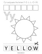 Cut and paste the letters Y-E-L-L-O-W Coloring Page