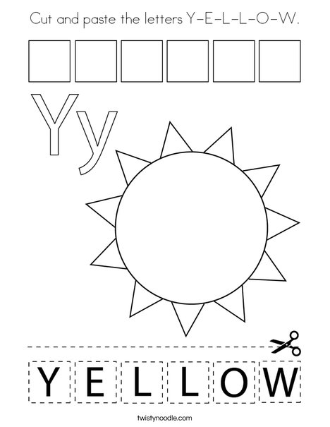 Cut and paste the letters Y-E-L-L-O-W. Coloring Page