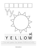 Cut and paste the letters Y-E-L-L-O-W Handwriting Sheet