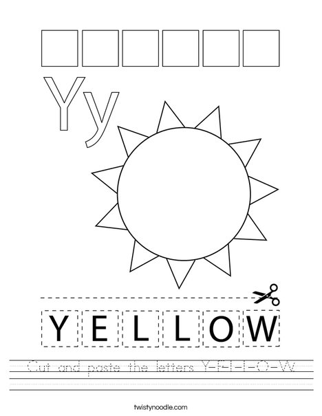 Cut and paste the letters Y-E-L-L-O-W. Worksheet