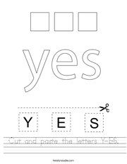 Cut and paste the letters Y-E-S Handwriting Sheet