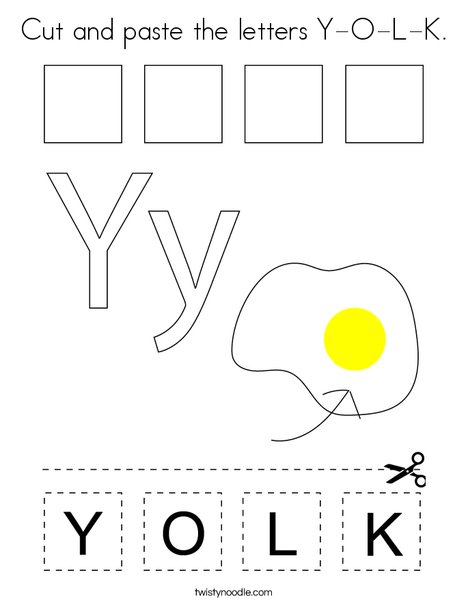 Cut and paste the letters Y-O-L-K. Coloring Page