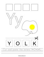 Cut and paste the letters Y-O-L-K Handwriting Sheet