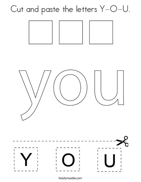 Cut and paste the letters Y-O-U. Coloring Page