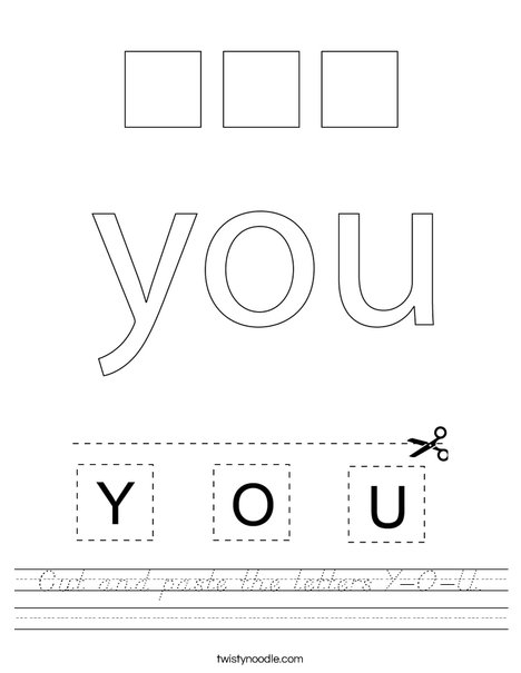 Cut and paste the letters Y-O-U. Worksheet
