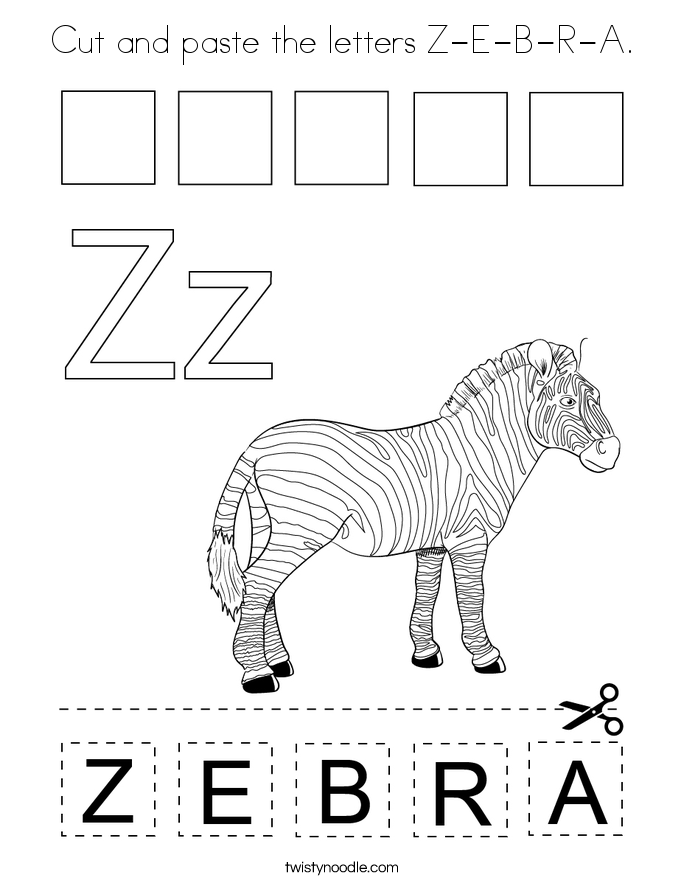Cut and paste the letters Z-E-B-R-A. Coloring Page