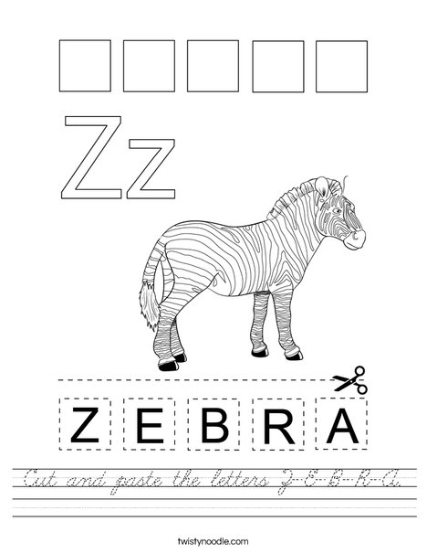 Cut and paste the letters Z-E-B-R-A. Worksheet