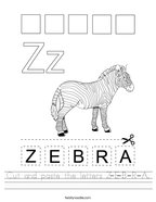 Cut and paste the letters Z-E-B-R-A Handwriting Sheet