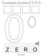 Cut and paste the letters Z-E-R-O Coloring Page
