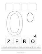 Cut and paste the letters Z-E-R-O Handwriting Sheet