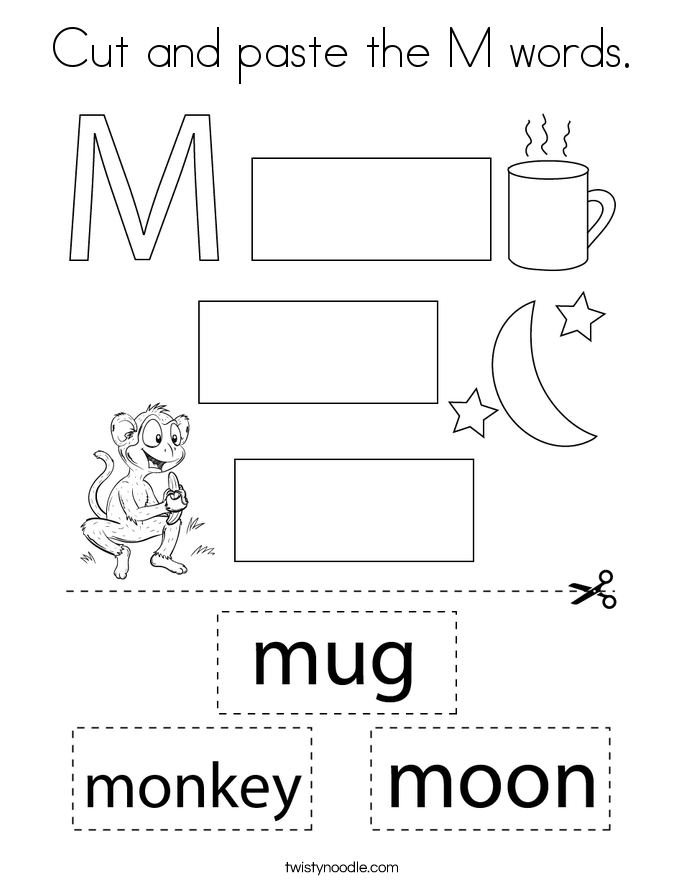 Cut and paste the M words. Coloring Page