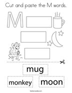 Cut and paste the M words Coloring Page