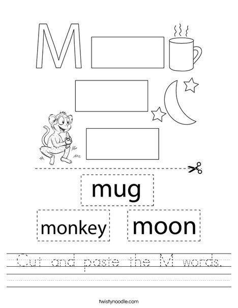 Cut and paste the M words. Worksheet