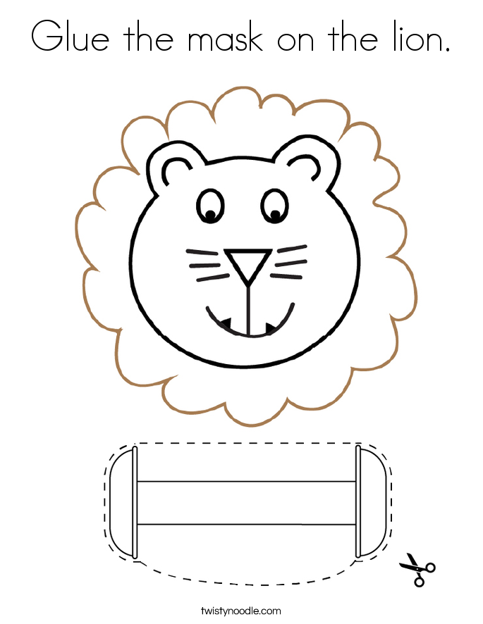 Glue the mask on the lion. Coloring Page