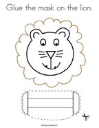 Glue the mask on the lion Coloring Page