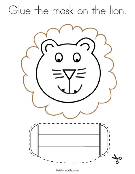 Cut and paste the mask on the lion. Coloring Page