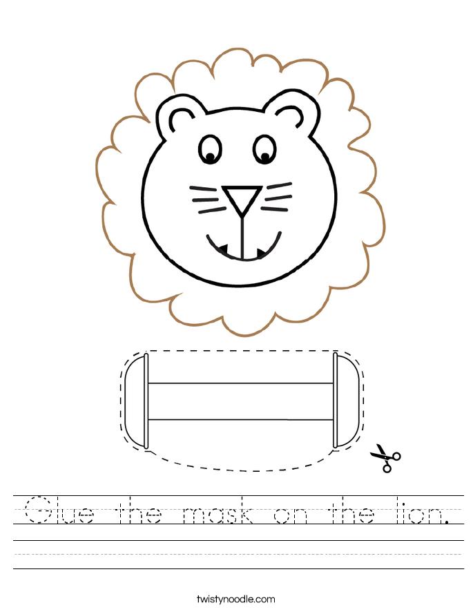 Glue the mask on the lion. Worksheet