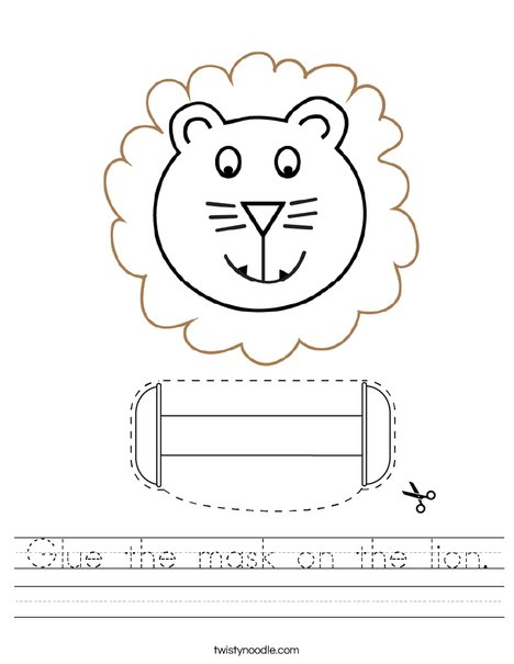 Cut and paste the mask on the lion. Worksheet