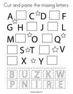 Cut and paste the missing letters Coloring Page