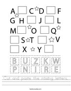 Cut and paste the missing letters Handwriting Sheet