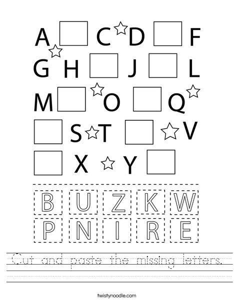 Cut And Paste The Missing Letters Worksheet - Twisty Noodle