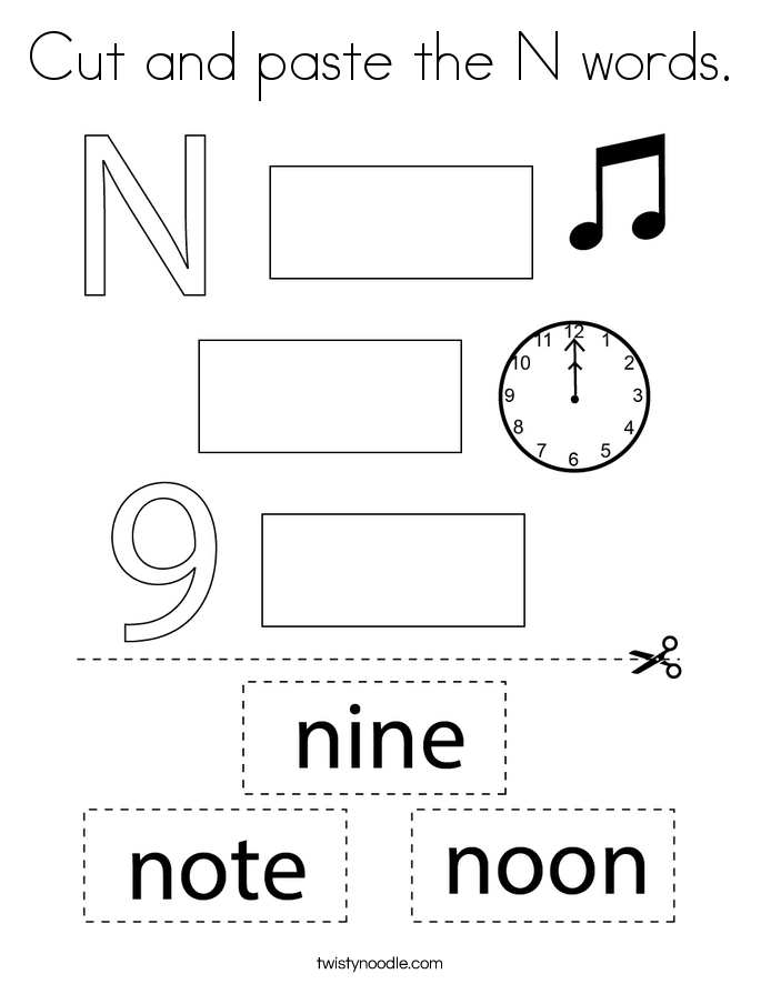 Cut and paste the N words. Coloring Page