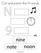 Cut and paste the N words Coloring Page